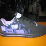 Pantofi sport dama (skate); cod FB036-2 negru/mov ; FB036-4negru/alb (36-41)