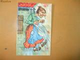 Carte postala caricatura desen ilustrator barbat palarie umbrela mustata costum epoca