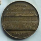 Placheta din bronz , comemorativa , Centenar Liceul Eudoxiu Hurmuzachi , Radauti , Bucovina , 1872 - 1972