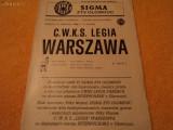 Program fotbal SIGMA OLOMOUC - LEGIA VARSOVIA 1986