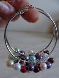 cercei colorati cu perle de sticla