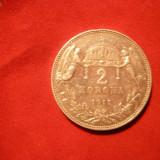 2 Kor. 1912 Ungaria, argint, F.Josef, cal.NC