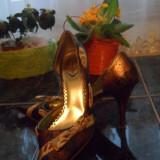 Pantofi eleganti model ascutit - Pantof dama, Coffee, Marime: 35.5