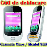 DECODARE DEBLOCARE ALCATEL 908 ( OT908 ) COSMOTE MOVE, ONLINE, PE IMEI *** Trimit codul de deblocare pe mail, Y, Skype etc. *** PRET PROMOTIONAL *** - Decodare telefon, Garantie
