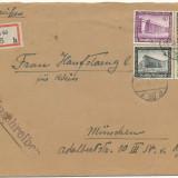 RFL 1936 Germania plic recomandat catre ROMANIA francat cu 4 timbre cu suprataxa
