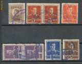 1945 ROMANIA 8 timbre Mihai I cu stampile bilingve romano-maghiare Tg. Mures, Stampilat