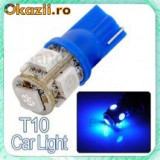 Led bec T10 W5W pozitie 5 smd de culoare albastru, Universal