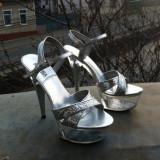 Pantofi Leonardo, nepurtati.stare apreciabila - Pantof dama, Argintiu, Marime: 38