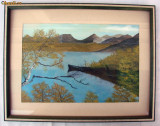 Pictura pe carton peisaj cu lac, semnat A.Vikman
