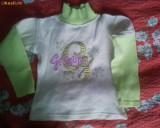 Bluza crem cu maneci verzi si paiete, 4-5 ani, Bej, Unisex