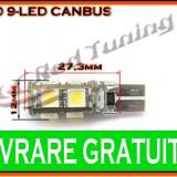 BEC LED LEDURI TYPER - T10 W5W - 9 SMD - POZITIE, PLAFONIERA, NUMAR - CANBUS FARA EROARE DE BEC ARS - CULOARE ALB - Led auto, Universal