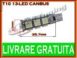 BEC LED LEDURI TYPER - T10 W5W - 13 SMD - POZITIE, PLAFONIERA, NUMAR - CANBUS FARA EROARE DE BEC ARS - CULOARE ALB