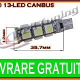 BEC LED LEDURI TYPER - T10 W5W - 13 SMD - POZITIE, PLAFONIERA, NUMAR - CANBUS FARA EROARE DE BEC ARS - CULOARE ALB - Led auto, Universal