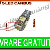 BEC LED LEDURI TYPER - T10 W5W - 5 SMD - POZITIE, PLAFONIERA, NUMAR - CANBUS FARA EROARE DE BEC ARS - CULOARE ALB - Led auto, Universal