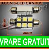 BEC LED LEDURI TYPER - C5W SOFIT FESTOON - 36mm 6 SMD - PLAFONIERA, NUMAR - CANBUS FARA EROARE DE BEC ARS - CULOARE ALB - Led auto, Universal