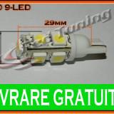 BEC LED LEDURI TYPER - T10 W5W - 9SMD - POZITIE, PLAFONIERA, NUMAR - CULOARE ALB - Led auto, Universal