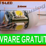 BEC LED LEDURI TYPER - T10 W5W - 5SMD - POZITIE, PLAFONIERA, NUMAR - CULOARE ALB, Universal
