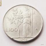 ITALIA 100 LIRE 1956, 8 g., Stainless Steel, 27.8 mm **, Europa