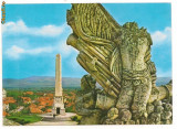Carte postala(ilustrata)-ALBA IULIA-Obeliscul si vedere partiala a orasului