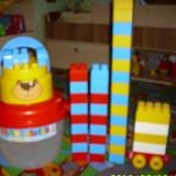 Lego marime mare in cutie ursulet firma ecoiffier cumparate din germania 46 bucati marime mare cu masinuta cu galetusa in forma de ursulet