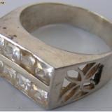 Inel vechi din argint cu 8 pietre albe - de colectie