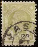 1887 CAROL I Vulturi 3 bani tipar ancrasat laptos, circulat la Iasi