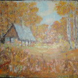 TABLOU-pictura CASUTA IN MESTECENI - Pictor roman