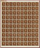 Romania 1940 - Ajutorul Legionar, C.Z. Codreanu, coala  100 timbre x 5 Lei brun, Istorie, Nestampilat