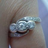 Vintage inel aur galben 18K si platina cu diamante naturale 0.16CT ieftin, 41 - 45
