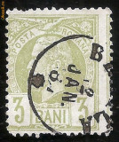 1885 CAROL I Vulturi 3 bani Braila stampila mica varietate cartus dreapta, Regi, Stampilat