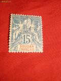 Timbru 15 Centi  Sudanul Francez ,nestamp. ,cu pliu ,1894