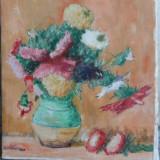 Flori - 8, ulei pe panza - Pictor roman, Natura moarta