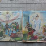 Pereche icoane vechi pe panza 80 x 80 cm. ( Icoana veche - 2 buc ) - Pictor roman, Religie, Ulei, Realism