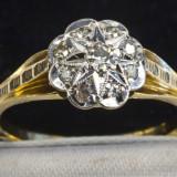 Superb inel model floare aur galben 18K cu diamante naturale 0.17CT 3.3 gr - Inel aur, 46 - 56