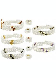 Bratara din perle albe naturale