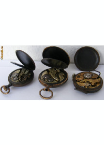 3 ceasuri vechi de buzunar defecte - de colectie