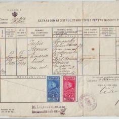 A71 Extras Stare Civila pt nascuti 1906 Timbre taxa 7 lei