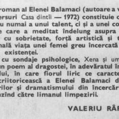 Elena balamaci - xena si umbrele ei - Roman, Anul publicarii: 1981