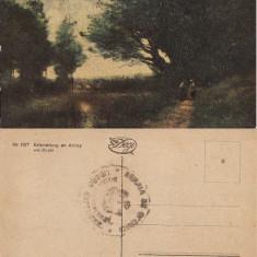 Carte postala- militara -Pictura Corot-stampila militara
