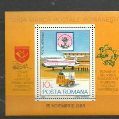 Romania 1983 - ZIUA MARCII POSTALE. AVION ROMBAC 1-11, colita MNH, F163