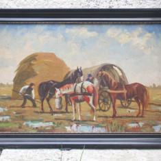 Peisaj la tara, taran caruta si cai, pictura  veche interbelica, Peisaje, Ulei, Impresionism