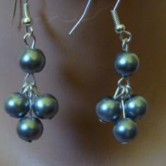 CERCEI CU PERLE DE STICLA GRI - Cercei perla