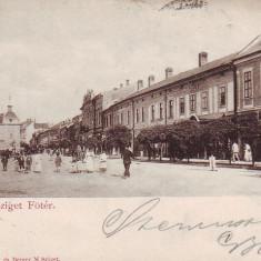 Ok-0320- Romania, Sighetul Marmatiei, c.p. circulata 1900: Centru, animat - Carte Postala Maramures pana la 1904, Fotografie, Sighetu Marmatiei