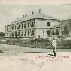 Ok-0322- Romania, Salutari Felix, c.p. circulata 1902: Hotel Viktor, animat - Carte Postala Crisana pana la 1904, Fotografie, Baile Felix