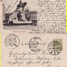 Cluj- Statuia Matei Corvin - clasica, 1903 - Carte Postala Transilvania pana la 1904, Circulata, Printata