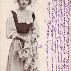 Romania? carte postala UPU circulata 1902: Costum popular german?