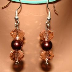 CERCEI CU PERLE DE STICLA SI CRISTALE FATENATE - Cercei perla