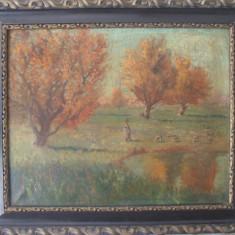 Ciobanas cu oi, pictura interbelica in ulei pe panza, tablou vechi