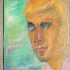 Portret de tanar, pictura in ulei pe carton