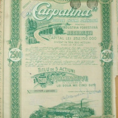 "OBLIGATIUNE-"" CARPATINA-Industria Forestiera""-1944"